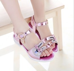 Wholesale Wholesale Diamond Sandals - Girl sandals summer new Korean princess little rabbit diamond sandals big children student shoes
