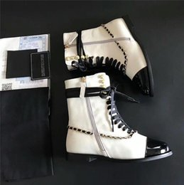 Wholesale Pumps Chain Ankles - Leather Ankle Boots Women Chunky Shoes Chain Pumps Spring Autumn Slip on Leather Luxurious Brand White Boots Sneakers