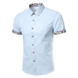 hinzufügen von ärmeln kleid Rabatt Männer Shirt Kurzarm 2017 Marke Shirts Männer Freizeithemd Slim Fit Blume Gedruckt Design Chemise Herren Camisas Kleid Shirts 4XL