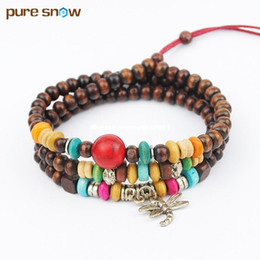 Wholesale Necklace Dragonfly Wood - Brand Fashion Buddha Beads Jewelry Dragonfly Alloy Pendant Wood Bead Bracelet Adjustable Unisex Length Bead Necklace