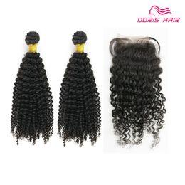Cabelos cacheados chineses on-line-Big vendas lace closure com 2 pacotes tecer cabelo humano KINKY CURLY brasileiro indiano chinês virgem produtos de trama do cabelo remy pode ser tingido