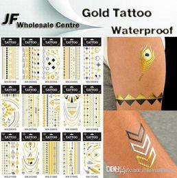 Wholesale Sticker 24cm - 30 Kinds Desigs New Metallic Gold Body Art Temporary Tattoo Sexy Non-Toxic Waterproof Flash Tattoos Sticker Bling Bling Flash Tats 10.6*24cm