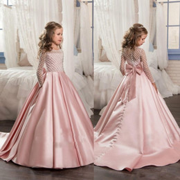 Wholesale Sequin Pink Flower Girl Dress - 2017 Princess Long Sleeves Flower Girls Dresses 2018 Bow Knot Delicate Beaded Sequins Ball Gown Floor Length Girls Pageant Birthday Gowns