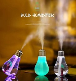 Wholesale Led Night Light Bulbs - Light Bulb Air Humidifiers Ultrasonic Humidifier Home Office Mini Aromatherapy Colorful LED Night Humidificador Mist Maker OOA1365