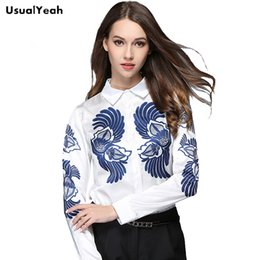 Wholesale Chinese Blouse Fashion - USUALYEAH 2017 Chinese Style White Shirts Long Sleeve Blue Printing Blouse for Work Wear Casual Shirt S M L XL XXL