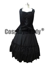 Wholesale Civil War Gowns - Civil War Victorian Velvet Gown Formal Period Theatrical Black Lolita Dress Cost