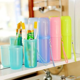 Wholesale Travel Toothbrush Cup - Wholesale- Portable utility toothbrush holder toothpaste tower plastic tooth case cover cup bath travel outdoor personal clean tool