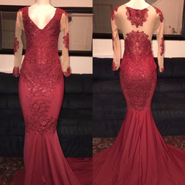 Wholesale Runway Dresses For Girls - Mermaid Evening Dresses Burgundy with Long Sleeves 2017 Sexy Deep V Neck Prom Dresses For Black Girls Formal Dresses with Lace Appliques