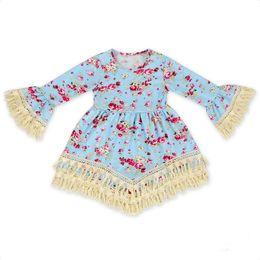 Wholesale Red Dress Black Fringe - Baby girl kids toddler Dress Summer Spring clothes clothing Long sleeve Tassels Fringe Dress Floral Dress Blouse Tops Ruffles