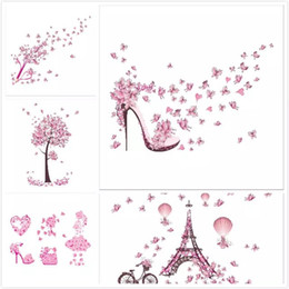 Wholesale Natures Shoes - 2017 Fashion High Heel Shoes Flying Butterflies Heart Flower Wall Sticker PVC Decals Home Decor Girl's Room Decor Poster