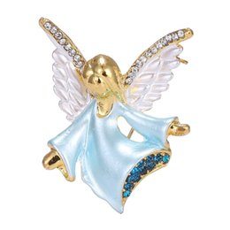 Wholesale Wings Pins - Wholesale- Figure small angel rhinestone Brooch pin gold plated crystal wings Brooches women party decoration jewelry