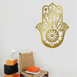 Wholesale Indian Style Decor - 9382 58*41cm Art Home Decor Hamsa Hand Wall Decal Vinyl Fatima Yoga Vibes 3D Wall Sticker Fish Eye Decals Indian Buddha Lotus Pattern Mural