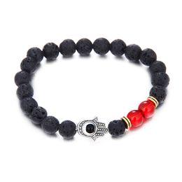 Wholesale Evil Eye Hamsa Beaded Bracelet - 2017 wholesale new arrivals jewelry hamsa evil eye bracelets with high quality black lava natural stone bracelet for men women