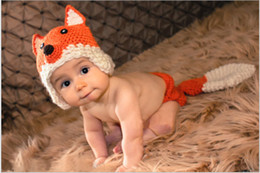 Wholesale Newborn Baby Photography Sets - Fox Design Newborn Costume Photography Props Hand Made Crochet Baby Photo Shoot Clothes for 0-6 Months 1 Set