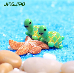 miniature decorations for terrariums Promo Codes - Artificial Cute Green Tortoise Animals Fairy Garden Miniatures Mini Gnomes Moss Terrariums Resin Crafts Figurines for Home Decoration