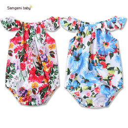 Wholesale Red Lotus - 2017 INS new summer Europe and America style baby kids climbing romper Lotus sleeve romper kids high quality cotton rose print romper