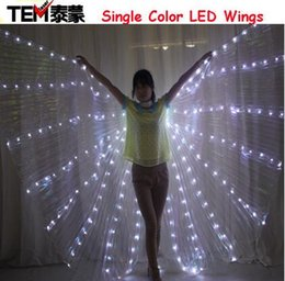 Wholesale Dance Costume Belly Dancing Sets - LED Belly Bancing lsis Wings DJ Wing Girls Dance Costumes Light Up Wings Set Dance Accessories Halloween(No sticks)