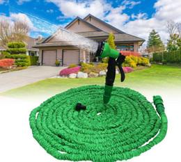 Wholesale Expandable Gun Nozzle - 75ft Garden hose with Spray Nozzle expandable blue water hose Magic Garden Pipe Valve Spray Gun Water Hose KKA1809