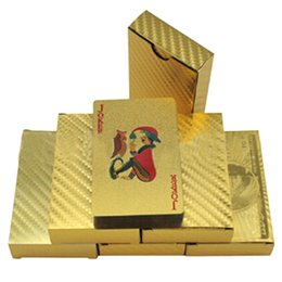 Wholesale 24k Cards - Hot 24K Gold foil plated playing cards Plastic Poker US dollar Euro Style and General style 3 designs Free shipping