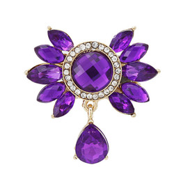 Wholesale Flower Bouquet Jewelry - Wholesale- 2016 New Fashion Bouquet Brooch Jewelry For Wedding Korean Cute Purple Blue Flower Rhinestone Bride Brooch Pins Women Brooch