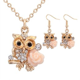 Wholesale Owl Earrings China - Fashion 2017 Women Jewelry Sets Earring Necklace OWL Rose Pattern High Quantity Gold Silver 2 Colors chain Free Shipping
