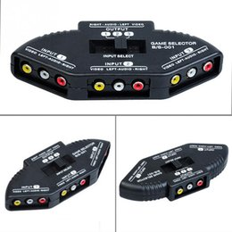 Wholesale Rca Audio Splitter Box - Wholesale-3 Way Audio Video AV RCA Switch Selector Box Splitter For XBOX360 DVD PS2 PS3 with RCA Cable