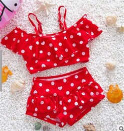 Wholesale Mixed Girls Swimsuits - High Quality Children's swimsuit girls wave point princess girls bathing swimsuit Girls two piece swimwear swimming suit
