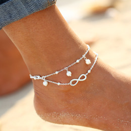 Wholesale Girls Bracelet Charms - Hot Sale Anklet Women Foot Bracelet Brand Beach Fashon Leg Bracelet Chain Tornozele Turkish Indian Anklet Beach Party Jewelry Infinity Charm