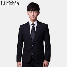Wholesale Tie Color For Grey Suit - Wholesale- (Jakcet+Pant+Tie) Men Formal One Button Suits Slim Fit Work Wedding Suits For Men Size S-4XL All-seasons 11 Color Black Grey