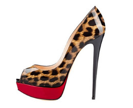 Wholesale Leopard High Heels Peep Toe - Zandina Womens Fashion Sexy Handmade High Heel Peep Toe Platform Multicoloured Stiletto Slide Bridal Pumps Shoes Leopard