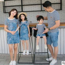 Wholesale Suspender Jeans Shirt - Family outfits fashion women girl stripe T-shirt+denim suspender dress 2pc sets father son top+jeans shorts 2pc clothing sets T3922