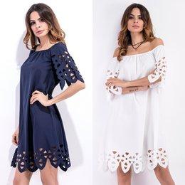 Wholesale Mini Chiffon Shirt - 2017 Fashion Women Hot Short Sleeve Shirt Dresses Off the Shoulder Party Evening Cocktail Summer Hollow Out Chiffon Short Mini Dress