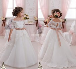 Wholesale Bling Wedding Sashes - 2017 Ivory Short Sleeves Wedding Flower Girl Dresses Bling Sequins Lace Sash Off the Shoulder Tutu Kids Communion Dresses for Girls Pageant
