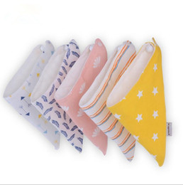 Wholesale Child Cloth Bibs - Baby Bibs Burp Cloths Newborn Saliva Towel Pinafore INS Bandana Infant Cotton Bavoir Scarf Child Cartoon Baberos Turban 2pcs set OOA2638