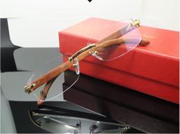 Wholesale Super 55 - 2017 New Myopia Frame Without Frame Wooden Leg Super Light Noble Glasses Frame Business Men and Women's Size: 55-18-140