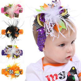 Wholesale Baby Girl Hair Bands Feathers - Baby Halloween Bow Headbands Barrettes Kids Hairbands Hair Clips Baby Girls Children Fashion Feather Bow wide hair accessories bands KHA406