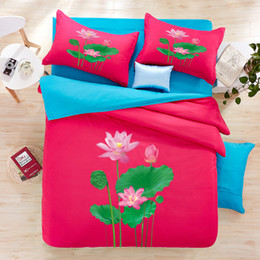 Wholesale Hotel Bedsheet - new 3D red Lotus Leaves 3d bedding sets cotton print 4pcs colorful brief luxury hotel morden duvet cover bedsheet mattress free shipping