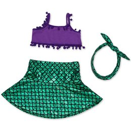 Wholesale Kids Bikini Outfits - Baby Girls Mermaid Satin Swimsuit Kids Newbown Ariel T Shirt+Headband+Skirt 3pcs Suits 0-6Y Infant Bikini Outfits Children Beach Clothes