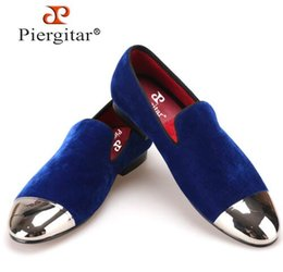 Wholesale Velvet Banquet - Piergitar black and blue velvet men shoes with gold and sliver toe metal Fashion Prom and banquet men loafers handmade male flat,size38-47