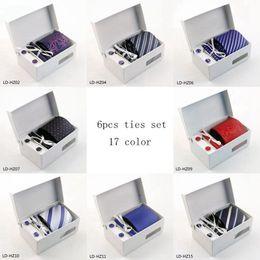 Wholesale Tie Hanky Set Boxed - Hot selling Wholesale ties for Men Polyester Dress Set 8cm Wide Woven Ties Set :Tie+ Cufflink + Tie clip +Hankie+Gift Box 1-10