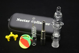 Wholesale Glass Pipe Bags - Hot Sale 14mm Nectar Collectors Set Portable Bag With GR2 Titanium Nai Real Quartz Nail Dabber Dab Rig Glass Water Pipes