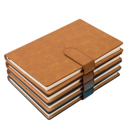 Wholesale Stationery Wholesale Business - Business notebook stationery Add thick A5 retro notebook Creative Custom notebook line type hardfaced Brass buckles Imitation leather