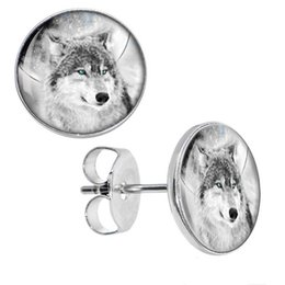 Wholesale pieces Surgical Steel Blazing Blue Eyed Wolf Ear Stud Earrings Fake Plugs Cheater Fashion Jewelry Size mm mm ZCST