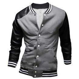 Wholesale Mens Leather Baseball Jackets - Wholesale- Cool College Baseball Jacket Men 2016 Fashion Design Black Pu Leather Sleeve Mens Slim Fit Varsity Jacket Brand Veste Homme XXL