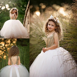 Wholesale Black Sparkle Tutu - Sparkling Golden Sequins Birthday Dress Scoop Neckline Hollow Backless Puffy Tulle Girls' Prom Dress2017 Latest Cheap TuTu Flower Girl Dress