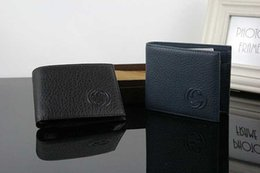 Wholesale Mens Leather Business Card Case - Black Blue Genuine Leather Credit Card Holder Wallet High Quality Classic Designer Mens ID Card Purse for Man 2017 New Arrivals Fashion Case