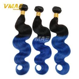 Wholesale Two Tone Human Braiding Hair - Two Tone 1B Blue Ombre virgin human Brazilian Hair Body Wave 3pcs Black And Blue Ombre Weave Ombre Human Hair Extensions Braiding hair