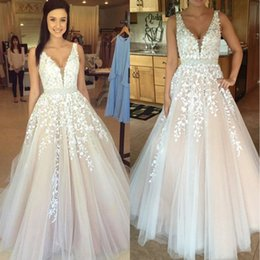 Wholesale Dress Floor Length Gothic - Gothic Blush Pink V Neck White Lace Full Wedding Dresses 2017 Vestidos De Novia Plus Size Beach Bridal Gowns Cheap BA3252