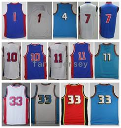 Wholesale Purple Gold Hills - Men Basketball Retro Pissont #1 JACKSON #4 DUMARS #7 JENNINGS #10 RODMAN #11 THOMAS #33 HILL White Grey Blue Jerseys Short With Player Name