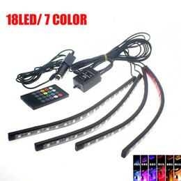 Wholesale Neon Light For Car Interior - NEW 4PCS 7 COLOR 18LED 5050 LED INTERIOR LIGHT KIT for ALL CARS ACCENT NEON GLOW